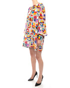 Chanel 14K Supermarket Silk Geo Multicolor Tunic Dress  Scarf - 38