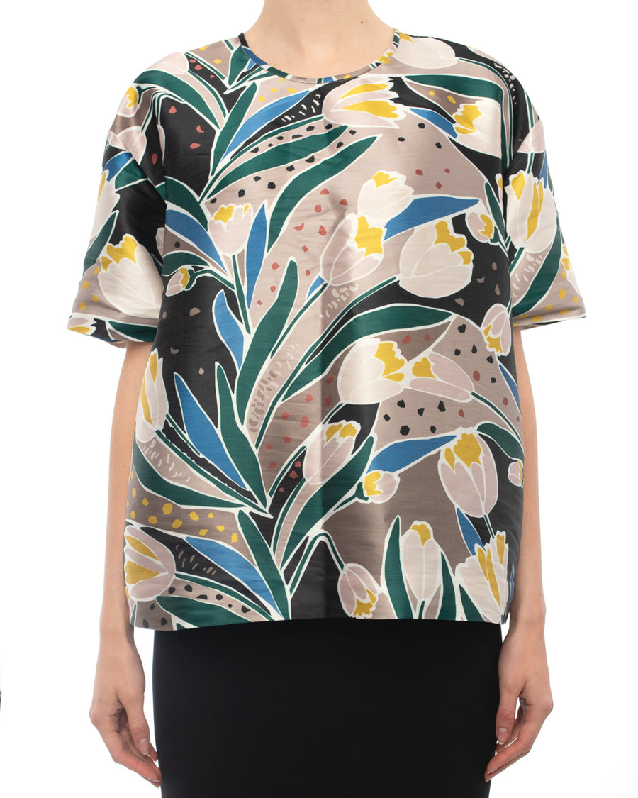 Rochas Spring 2017 Green Satin Floral Tulip Short Sleeve Top - 10