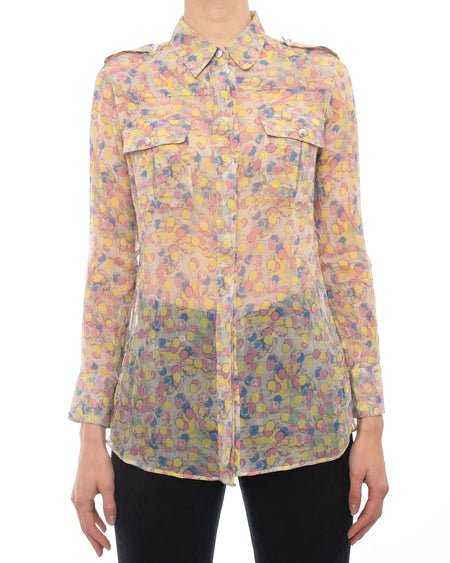 Chanel Resort 2011 Yellow Pink and Blue Sheer CC Shirt - 36 / 4