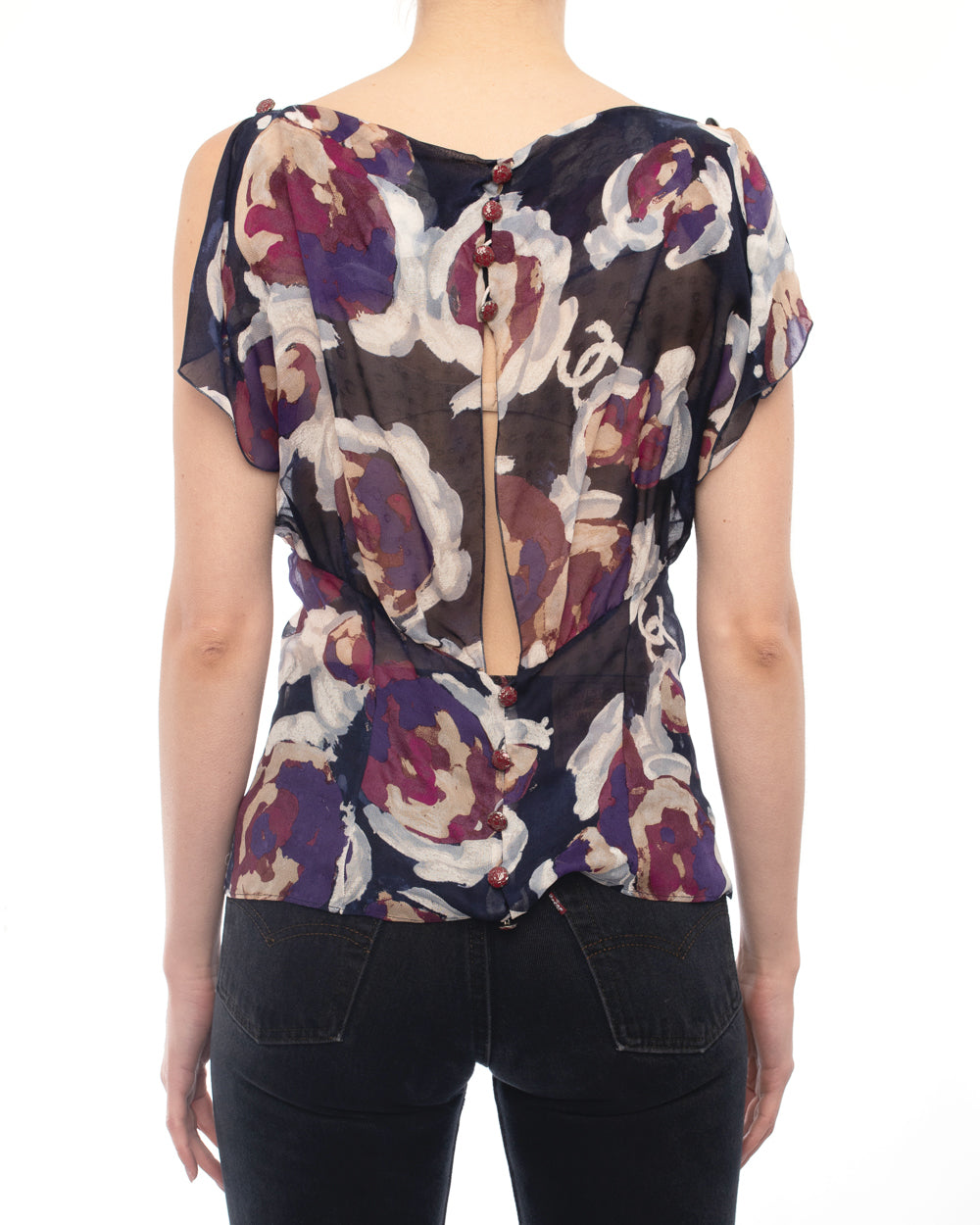 Chanel 2010 Resort Runway Sheer Purple Silk Floral CC Top - S