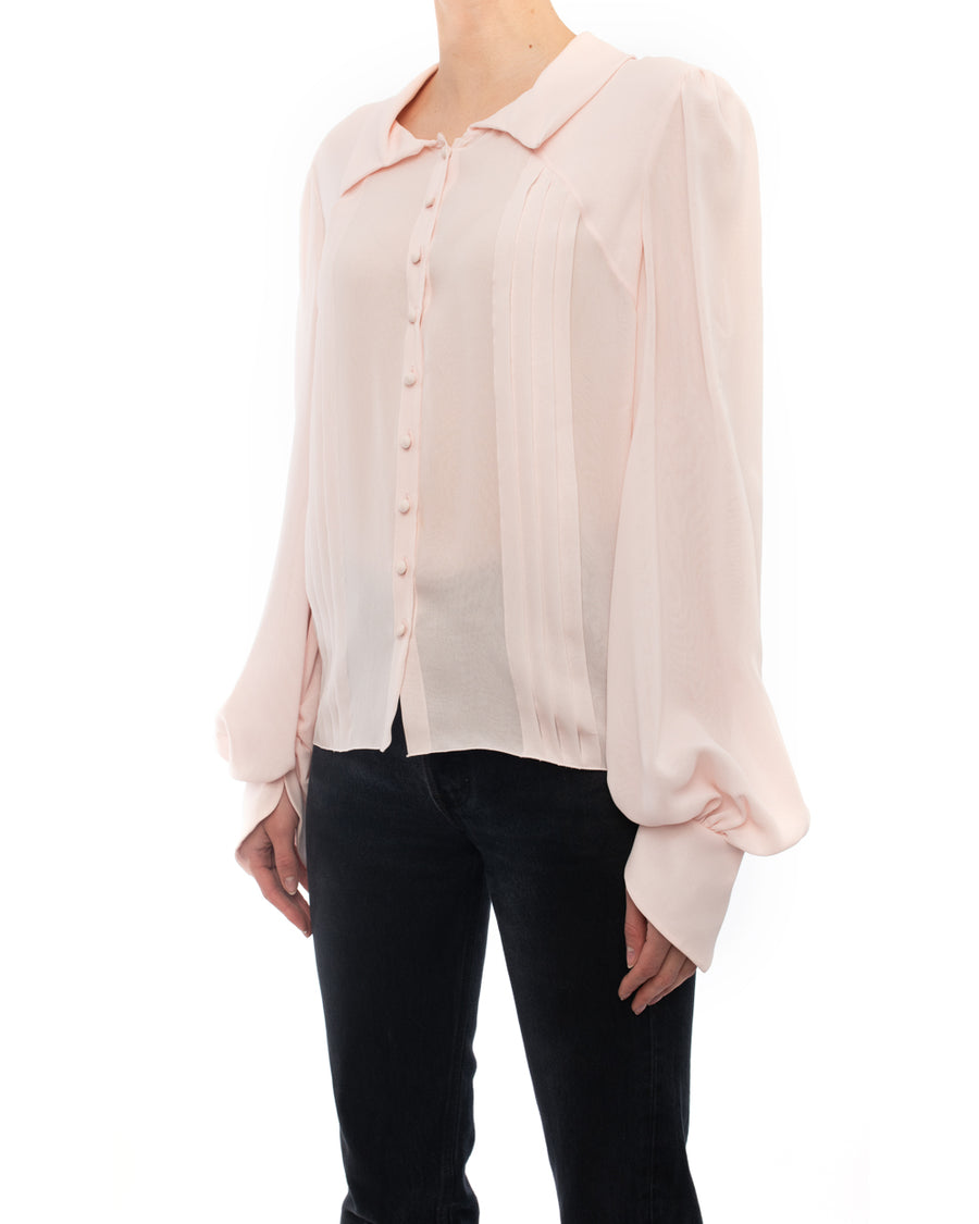 Chanel 2009 Spring Light Shell Pink Silk Runway Blouse - 40 / M