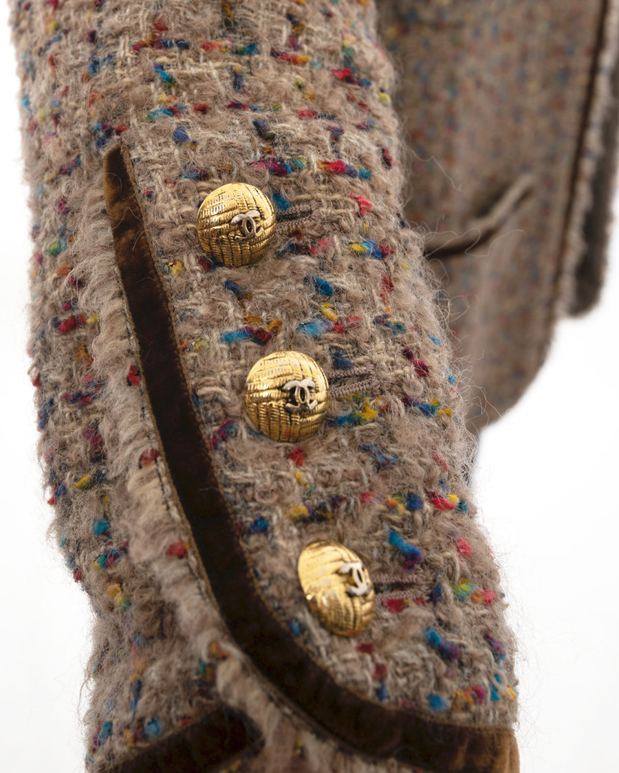 Chanel 1986 Vintage Brown Tweed Jacket with Gold CC Buttons - 42 / 10