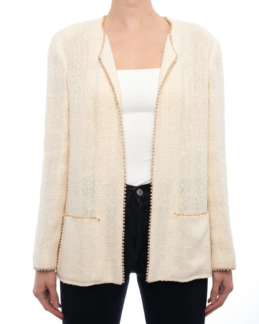 Chanel 99P Vintage Ivory Jacket with Faux Pearl Trim - 42 / 10