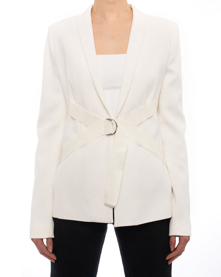 Mugler Resort 2015 White Blazer with Strap Design - 6