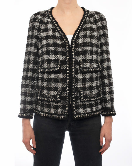 Chanel Fall 2011 Ad Campaign Silver Black Check Tweed Jacket - 40