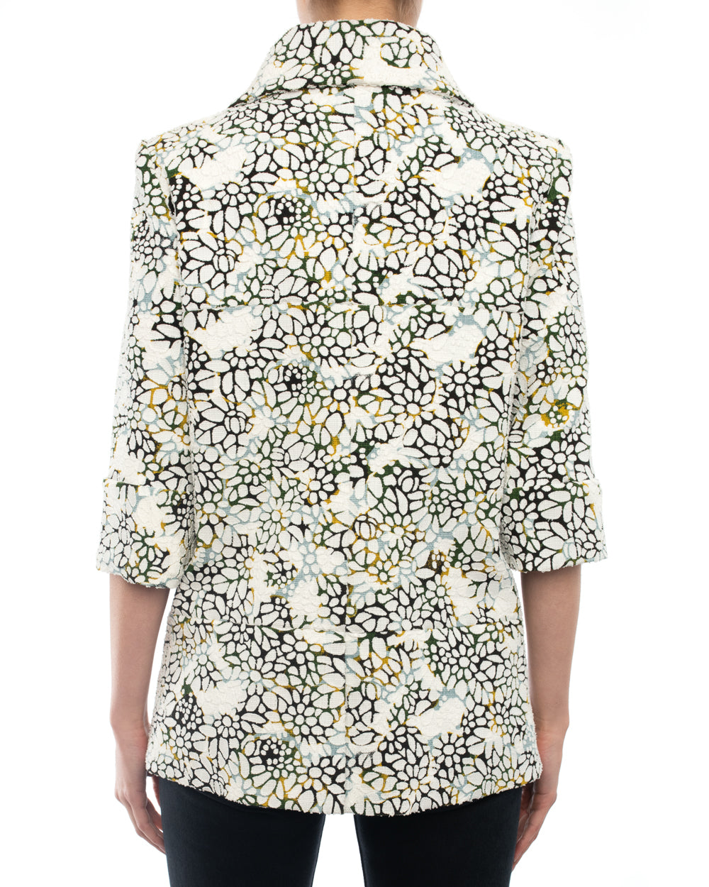 Chanel 2015 Spring Runway White Floral Pattern Jacket - 38