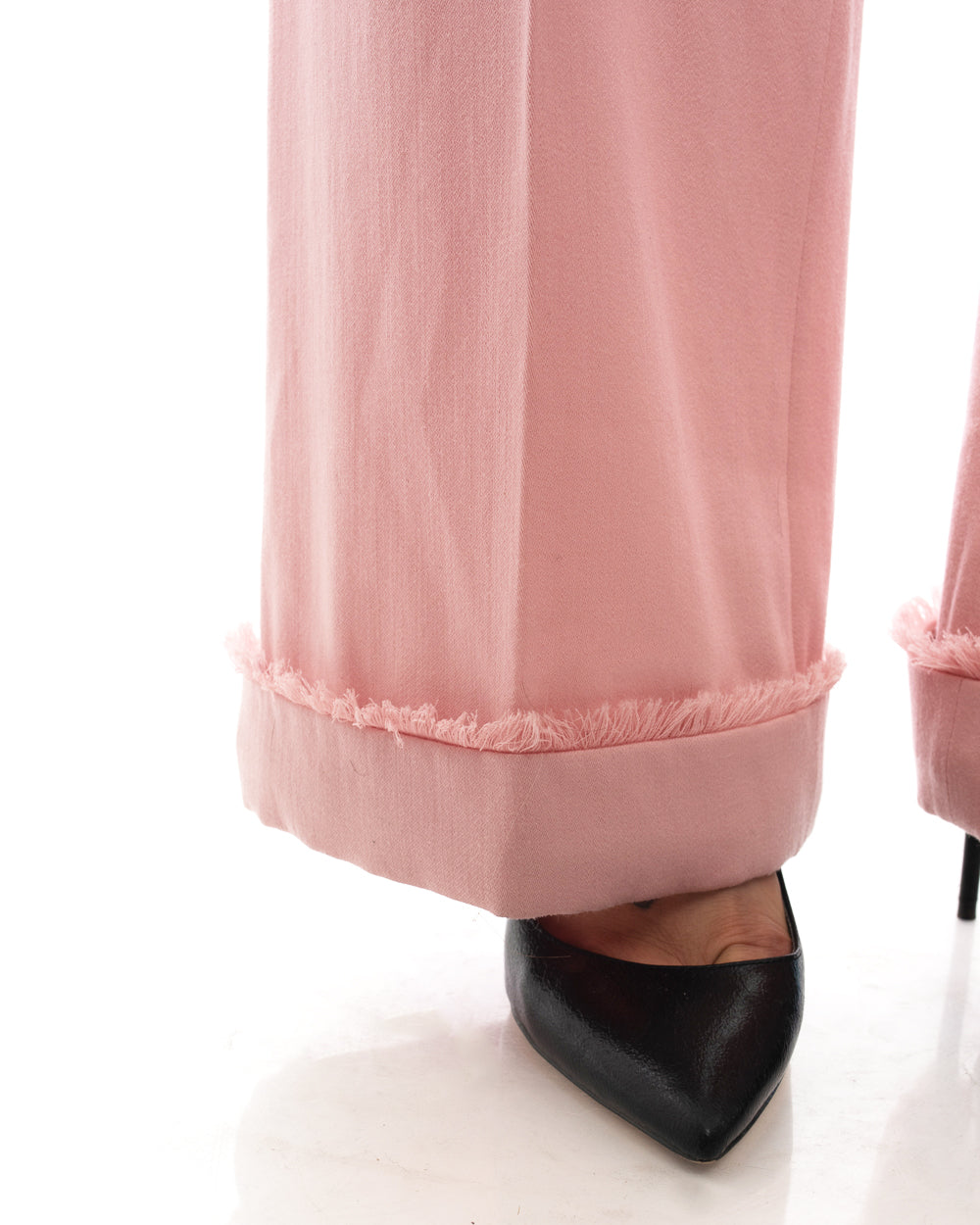 Chanel Fall 2009 Pink Wool High Waist Wide Leg Trouser Pants - 2