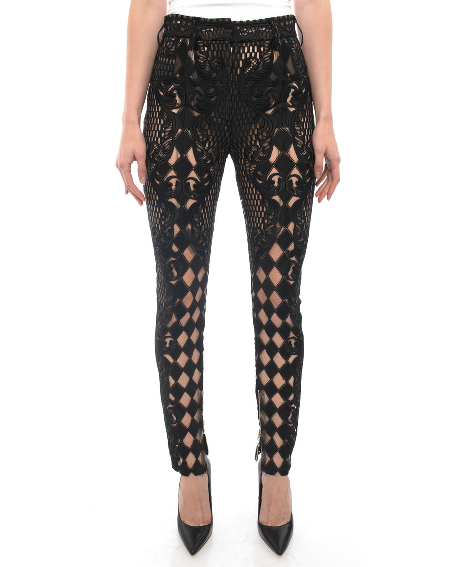 Balmain Spring 2013 Runway Black Sheer Lace Skinny Pants - 4
