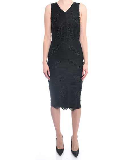 Emporio Armani Black Sleeveless Beaded Rope Dress - 4