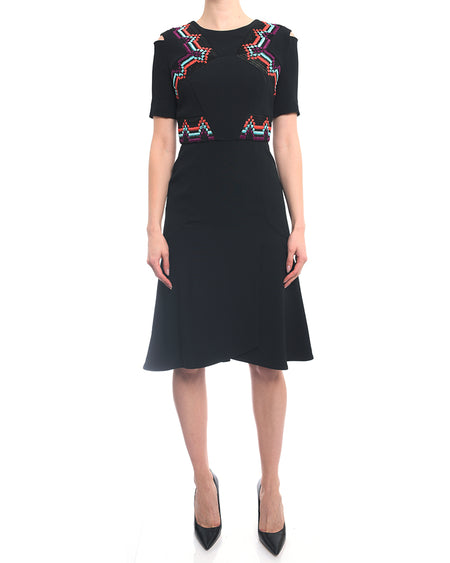 Roland Mouret Black Cold Shoulder Dress w Embroidery - 4