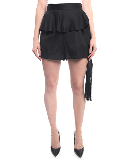 Alexander Mcqueen Satin High Waist Shorts with Fringe - 6