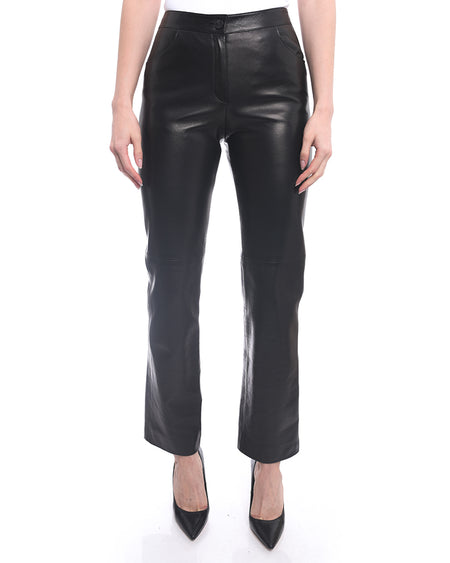 Chanel Fall 2004 Black Lambskin Leather Runway Pants - 36 / 4