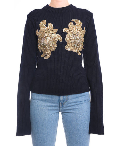 Y Project Fall 2018 Navy Wool Sweater with Gold Jewel Detail - M