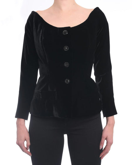 YSL Haute Couture Vintage 1990's Velvet Off Shoulder Jacket - 38