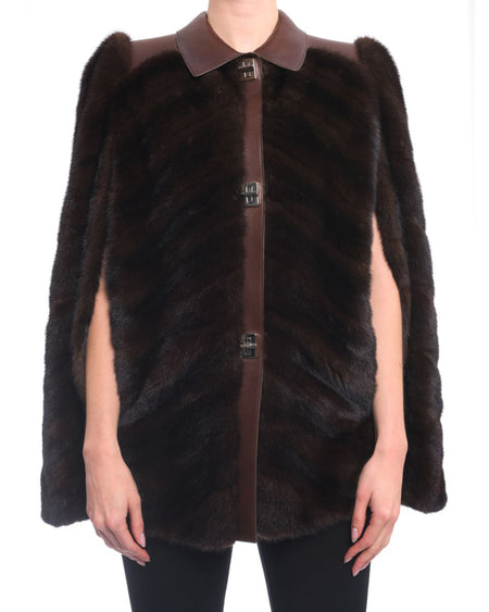Prada Bespoke Brown Mink Fur 1970's Style Cape Jacket - S