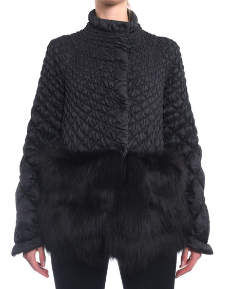 Ermanno Scervino Black Light Quilt Jacket with Fox Fur Trim - M