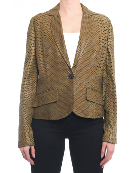 Christian Dior Olive Faux Python Perforated Leather Jacket - 8