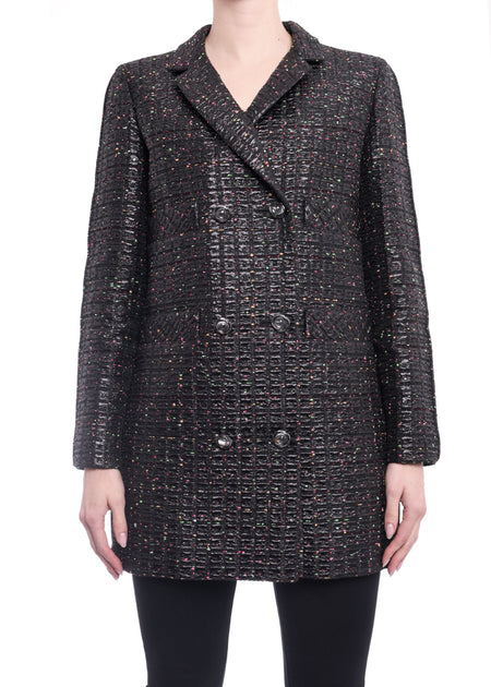 Chanel 14S Black Shimmer Runway Jacket - 38