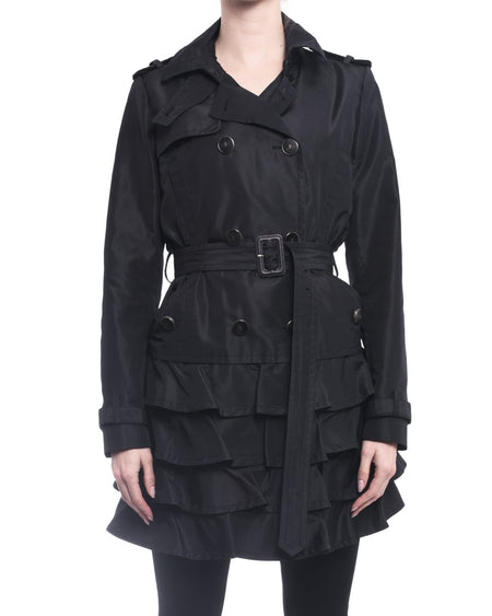 Valentino Black Nylon Ruffle Trench Coat - 8