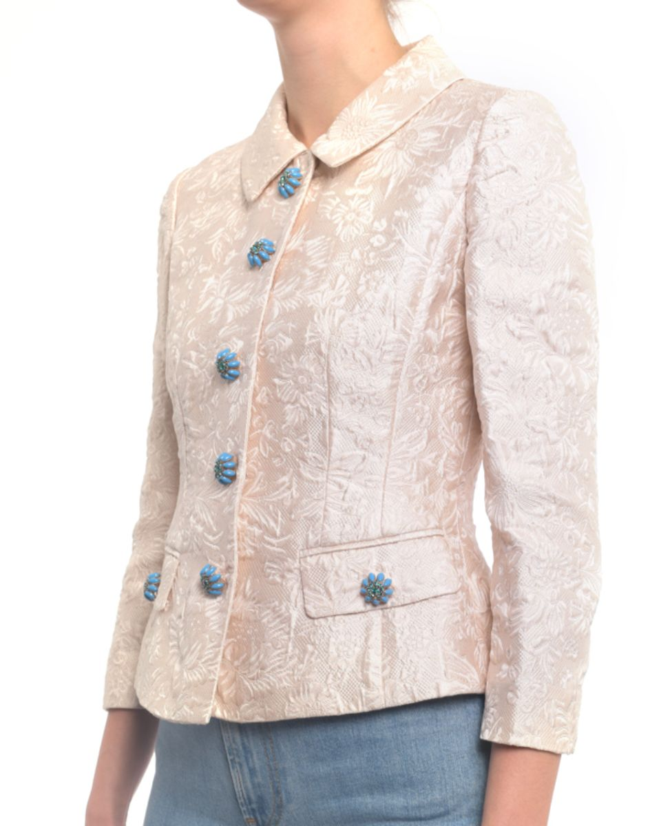Dolce & Gabbana Ivory Jacquard Jacket with Jewelled Buttons - XS