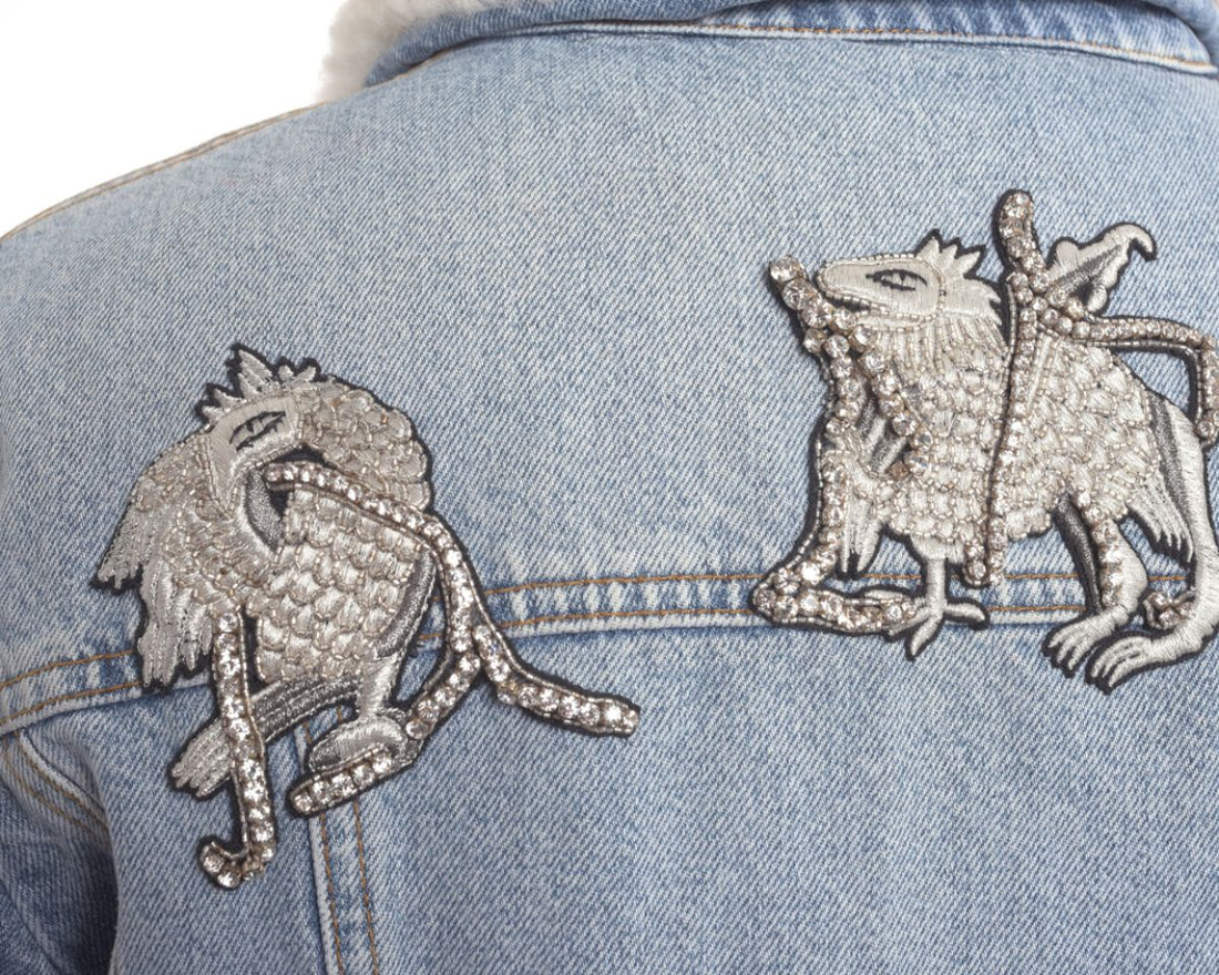 Alexander McQueen Denim Shearling Embroidered Jacket - M