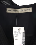 Balenciaga Black Rayon Dress with Silk Bows at Shoulders - 8