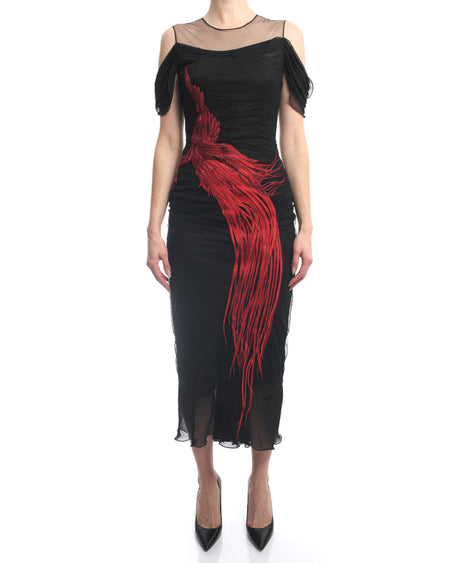 Alexander McQueen Fall 2018 Black Tulle Mesh Red Feather Dress - S