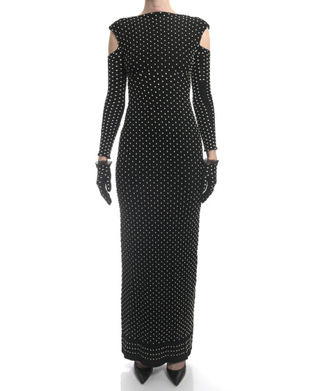 Alaia Black White Knit Dotted Cold Shoulder Gown Dress w Gloves