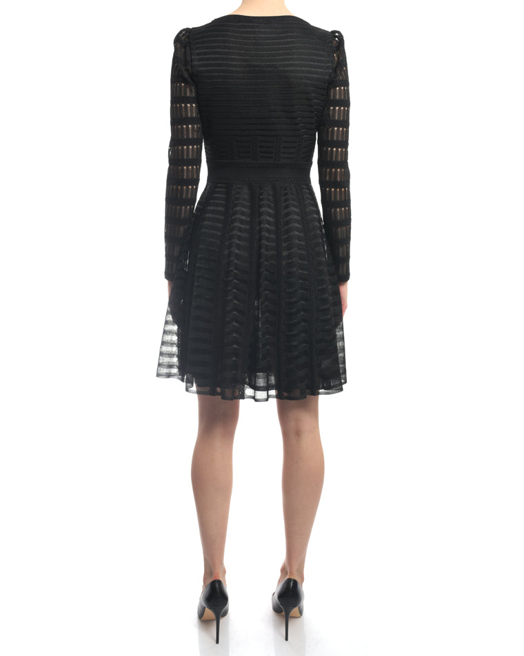 Alexander McQueen Black Mesh Long Sleeve Knit Dress - S