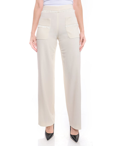 Chanel Ivory Wide Leg Fringe Trim Trouser - 36
