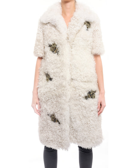 Erdem Fall 2014 Anouk Shearling Jewel Embellished Coat - 6