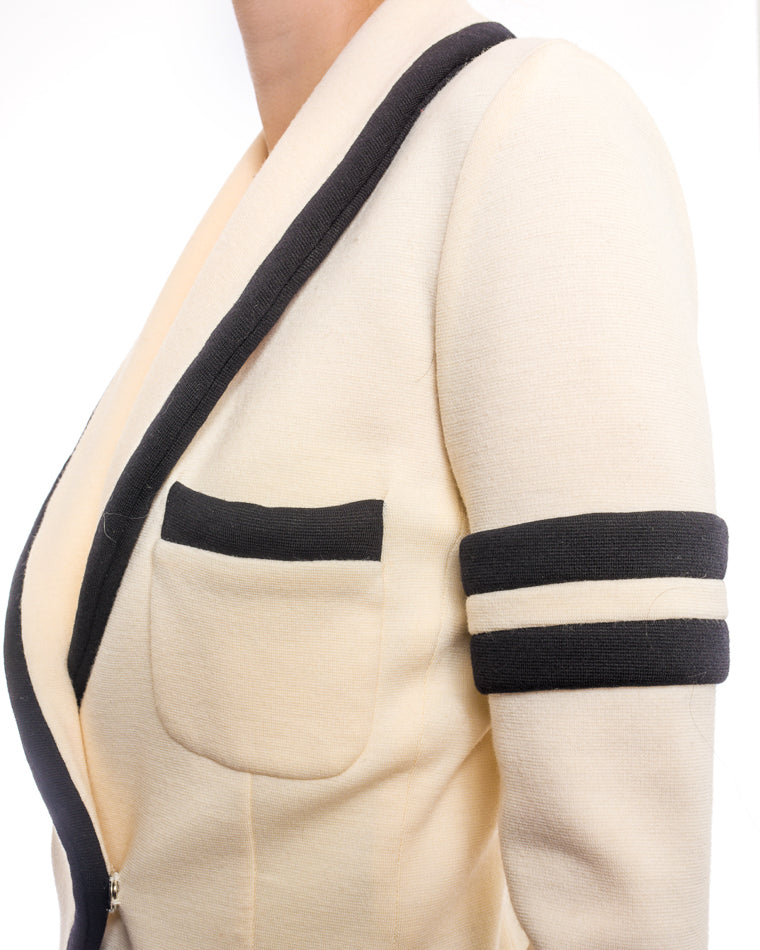 Balenciaga Fall 2018 Ivory Wool Knit Jersey Stripe Jacket - 6