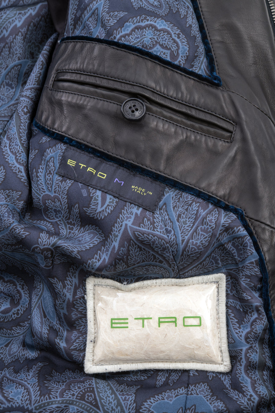 Etro Down Filled Leather Puffer Jacket Coat