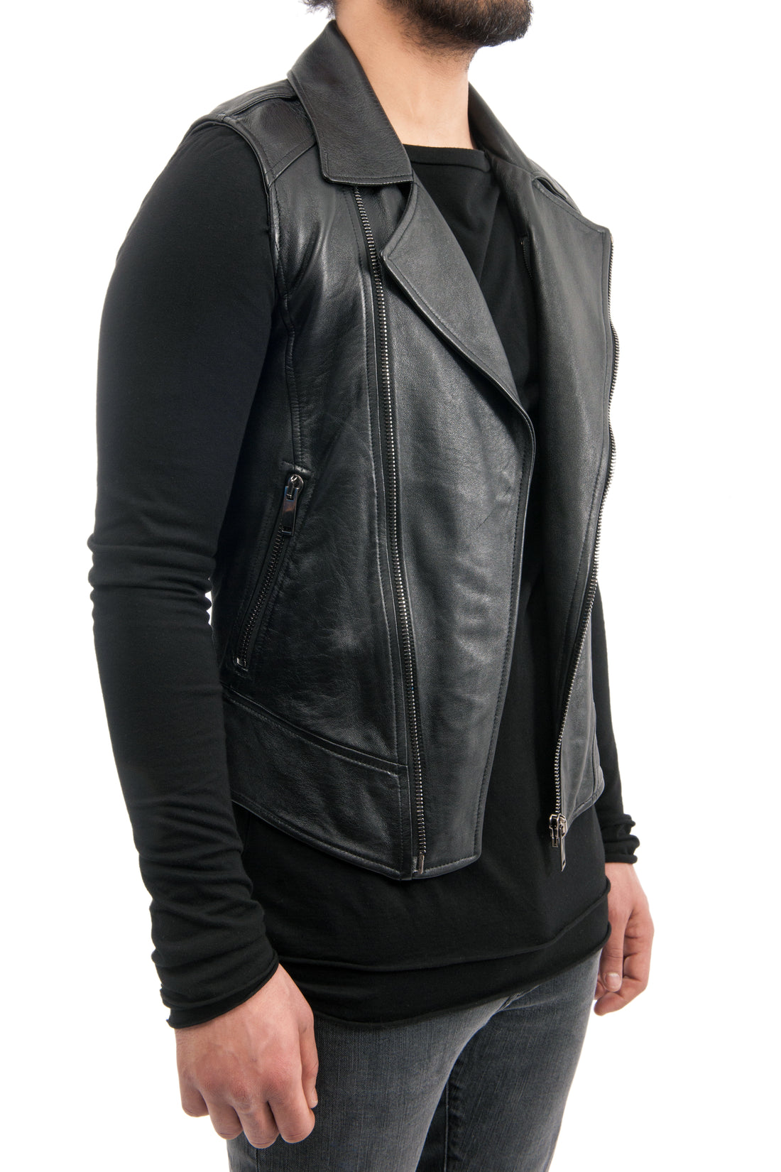 Gareth Pugh Black Leather Motorcycle Zip Vest
