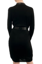 Gucci Black Knit Jersey Belted Dress with Leather trim