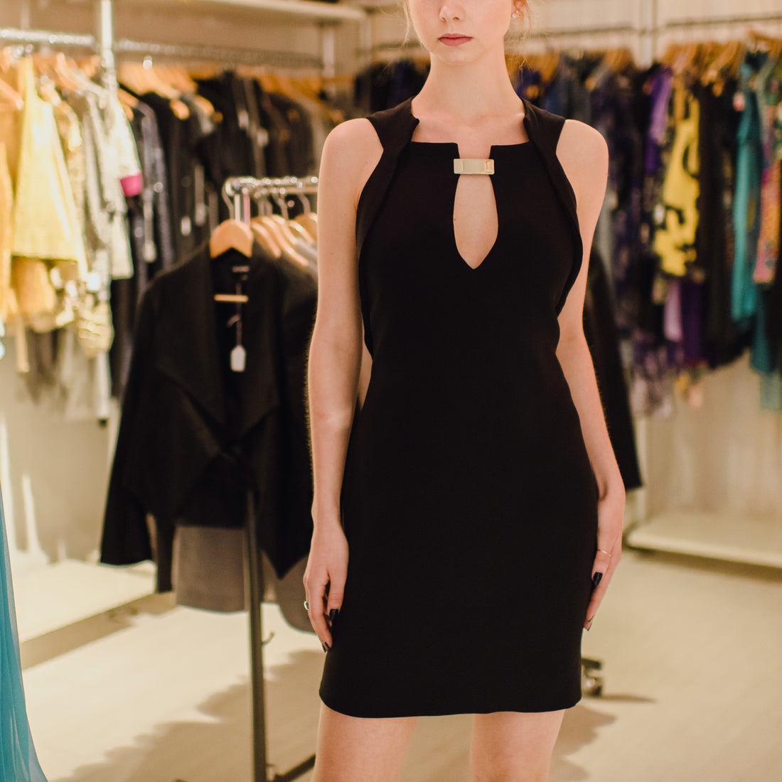 Gucci Black Silk Sleeveless Dress with Gold Metal Plaque at Neck