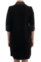 Gucci Black Stretch Crepe Dress with Leather Cuffs and Collar