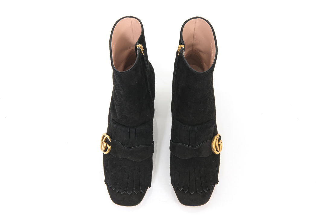 Gucci Marmont Black Suede Fringed Logo Ankle Boots