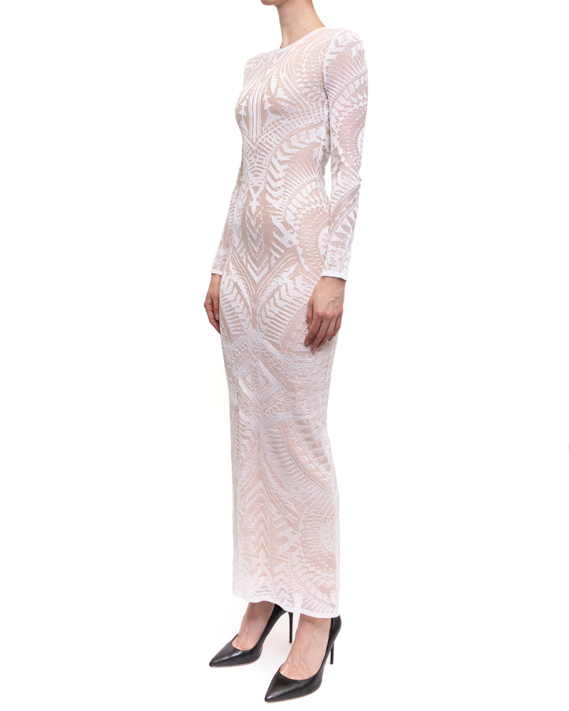 Balmain Resort 2015 White Intarsia Stretch Knit Long Gown Dress - S