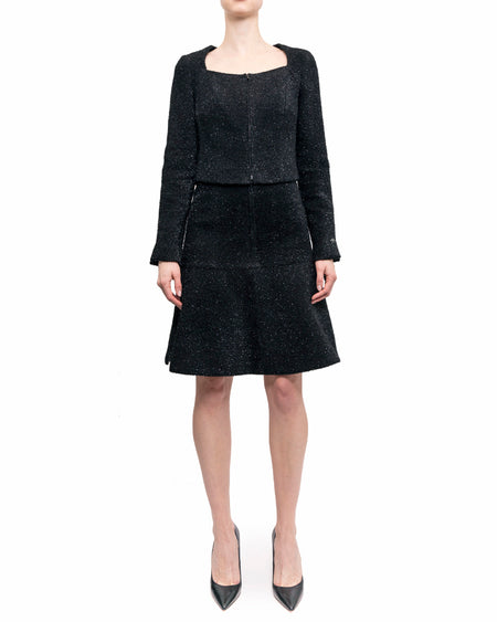 Chanel 2016 Fall Runway Black Shimmer Tinsel Dress and Jacket Suit - 6