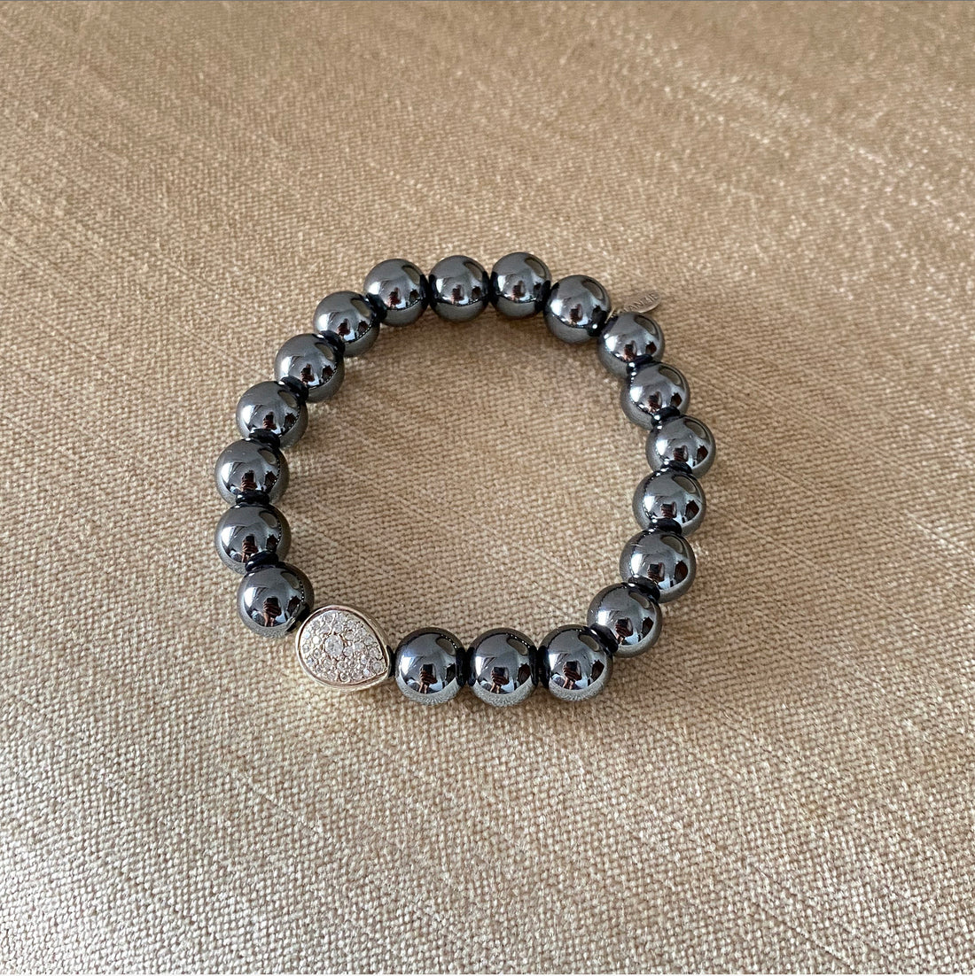 Anzie Hematite Bead Bracelet with Sterling and White Topaz