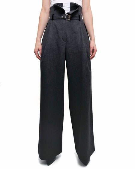 Claude Montana Vintage High Waist Wool Wide Leg Pants - 6
