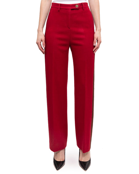 Chanel Pre-Fall 2015 Salzburg Red Wool and Green Stripe Trouser Pants - 36
