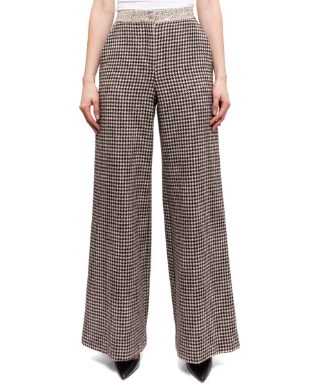 Chanel Pre-Fall 2015 Fall Brown Wide Leg Houndstooth Wool Pants - 36