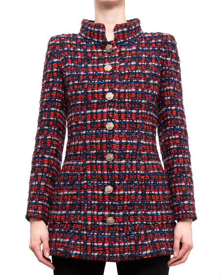 Chanel Pre-Fall 2018 Red and Blue Chunky Tweed Jacket - 38