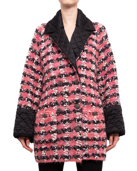 Chanel 15B Pink Chunky Knit Sweater Coat with Satin Quilt Trim - 36