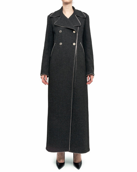 Chanel pre-fall 2008 Fall Grey Wool Long Zipper Coat - 38