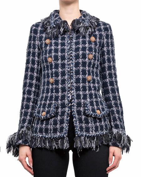 Chanel Pre-Fall 2014 Dallas Runway Blue Check Fringe Jacket - 38
