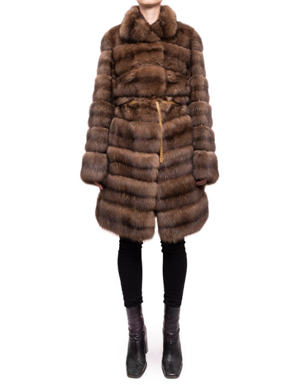 Fendi Russia Dark Sable Fur Coat with Gold Chain Belt - 6