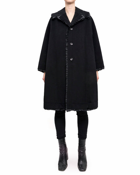 Comme des Garcons Black Wool Flare Coat with Ruffle Trim - S